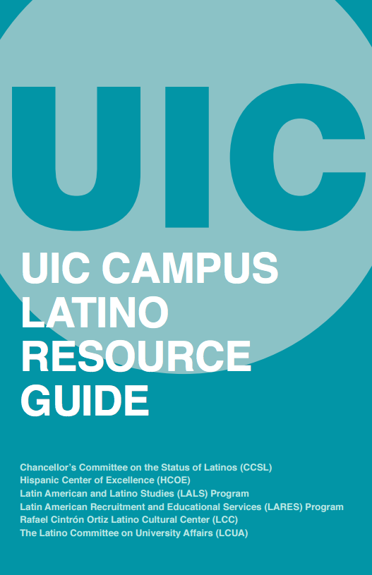 cover of the uic campus latino resource guide in blue.