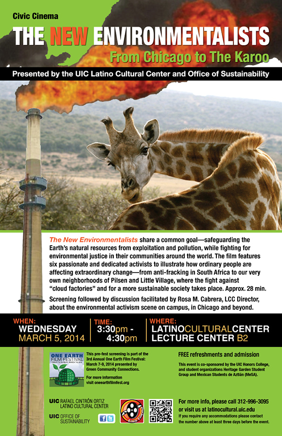Giraffe looking back while a smoke stack is spewing fire