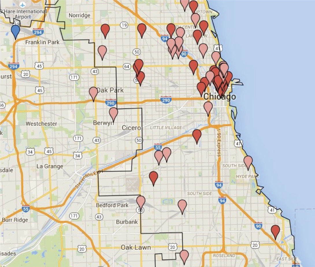 Map of Chicago's chocolate production