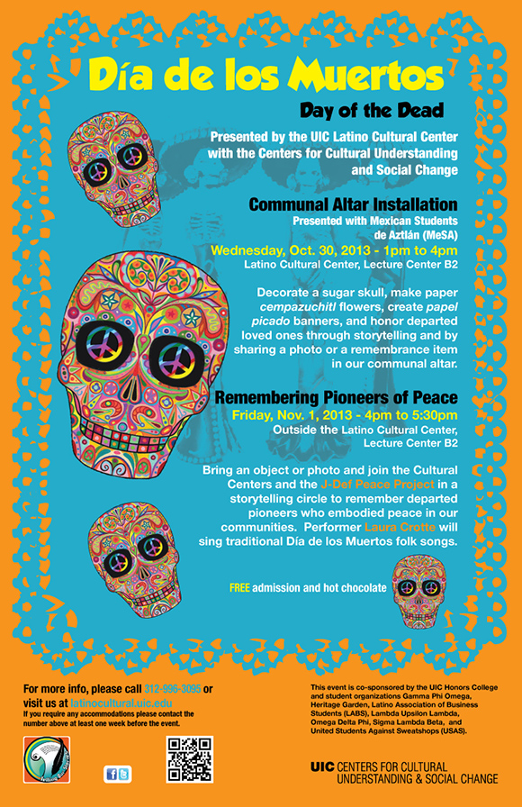 illustrations of colorful skulls on papel picado