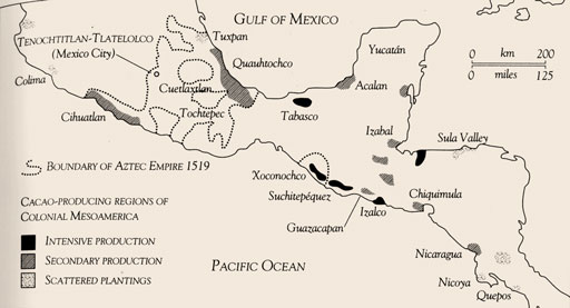 Map of Central American chocolate-growing