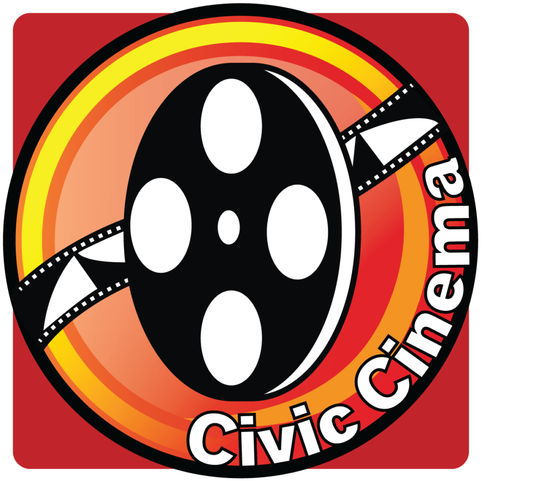 Red and orange circle with a roll of film in the middle along with the words Civic Cinema wrapped along the circle
