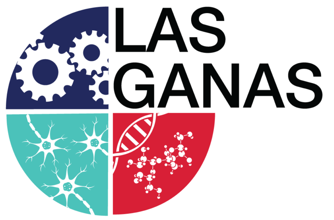 Las Ganas logo. Circle cut into 4 quadrants. One has gears, another has stem cells, and the las has dna molecules and the name Las Ganas in the last