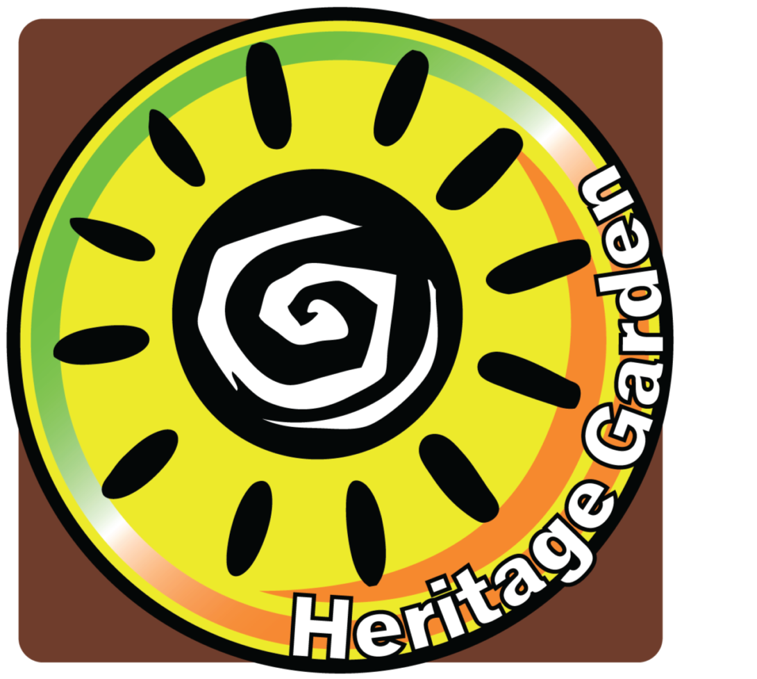 brown background with yellow circle with a sun illustration in the middle. along with the words heritage garden wrapped along the circle