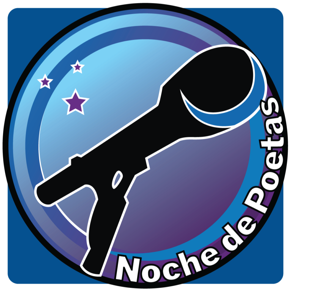 Blue circle with a microphone in the middle along with the words Noche de Poetas wrapped along the circle