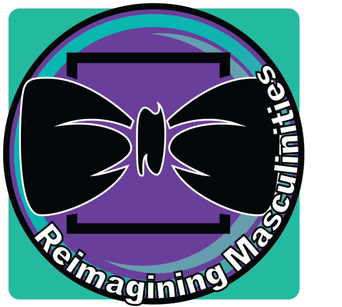 teal background with purple circle with a bow tie in the middle. along with the words Reimagining Masculinities wrapped along the circle