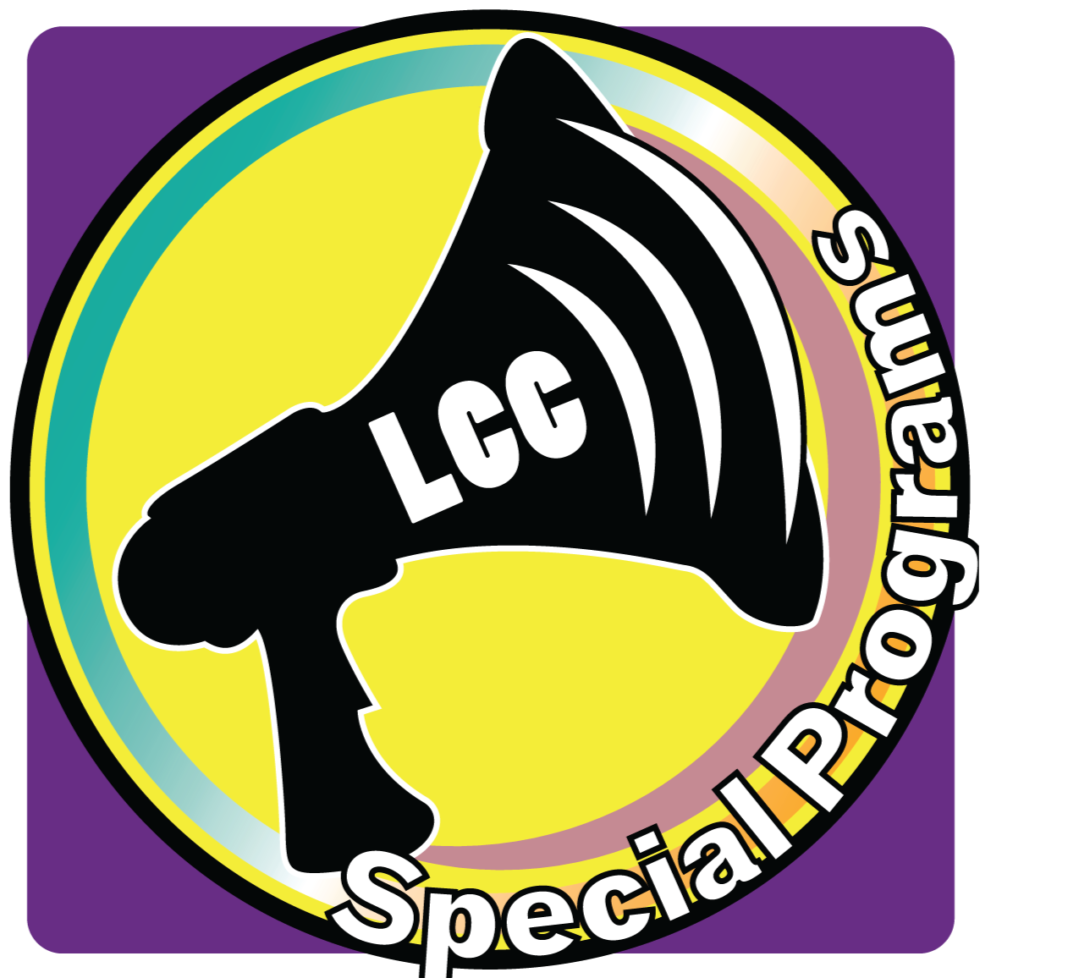 purple background with yellow circle with a megaphone in the middle. along with the words Special Programs wrapped along the circle
