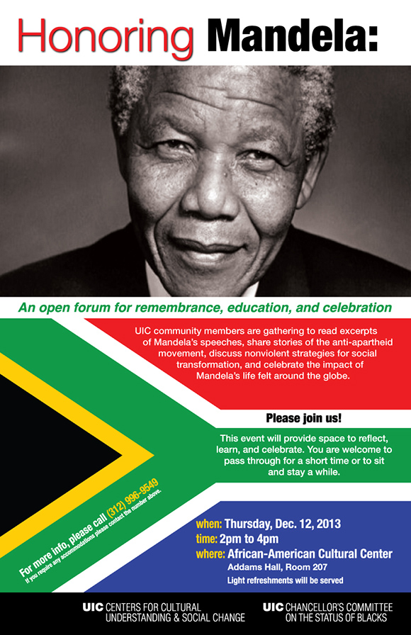 Mandela along with a South African flag