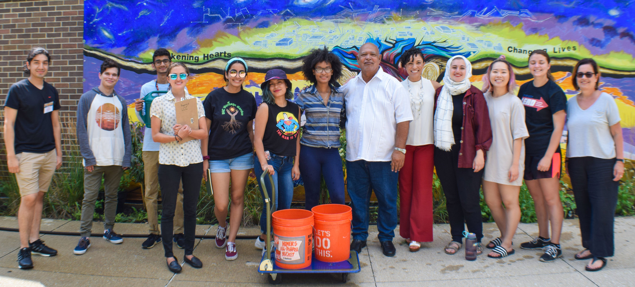 image of Dr. Cabrera-Trimiño with Heritage Garden interns and LCC Director