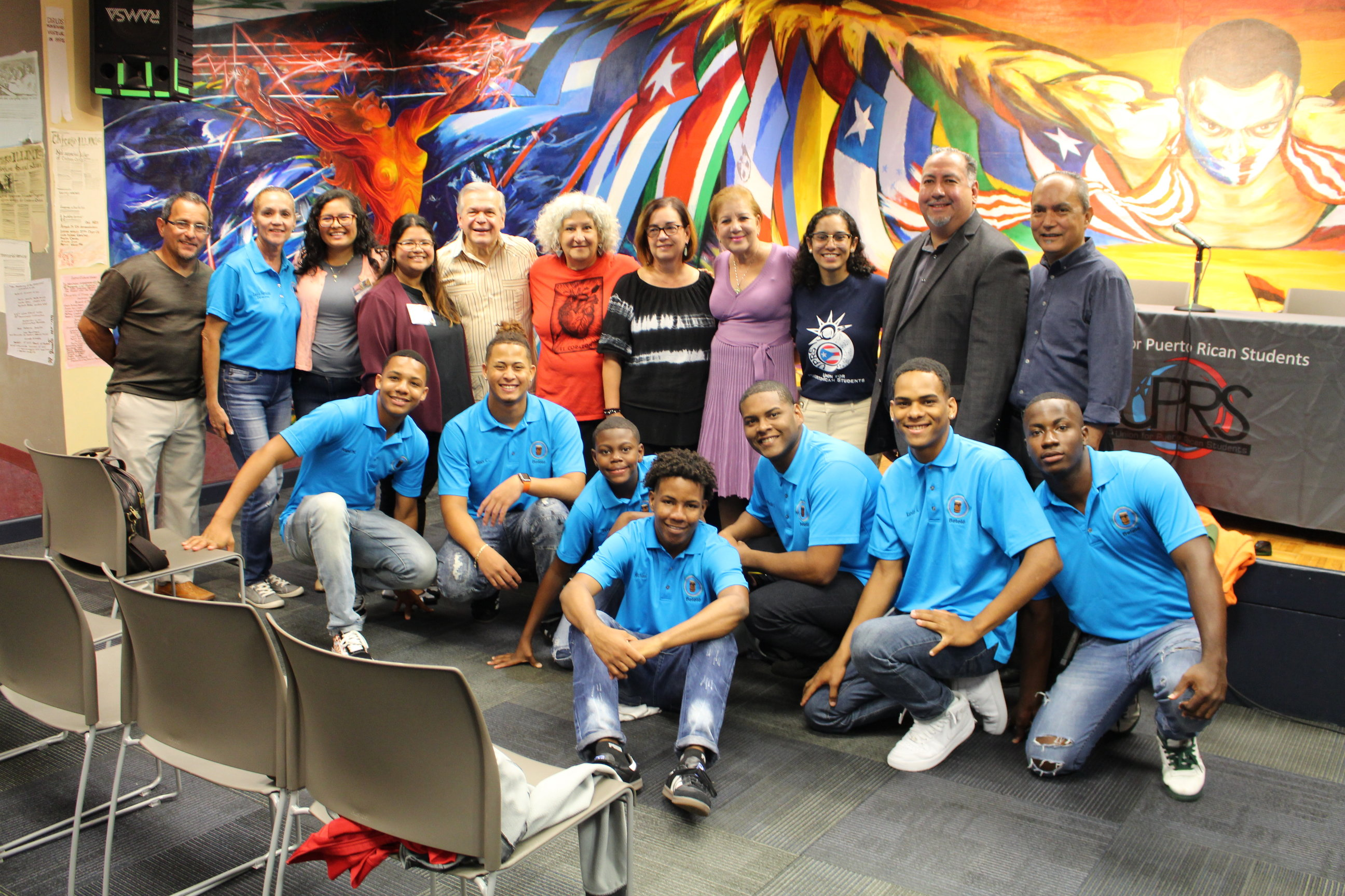Julia M. Nazario, PRCC performers, and UIC staff and students in photo