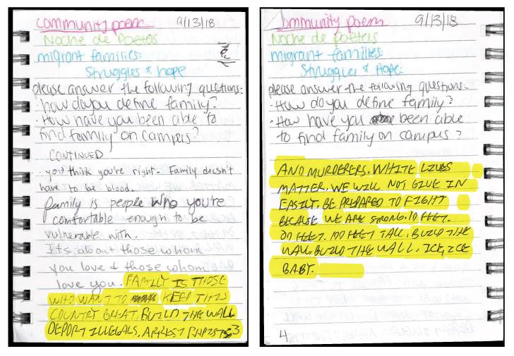 community poem notebook text