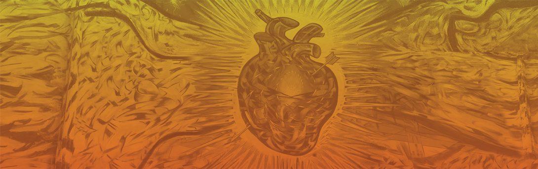 LCC's heart mural in an orange duotone