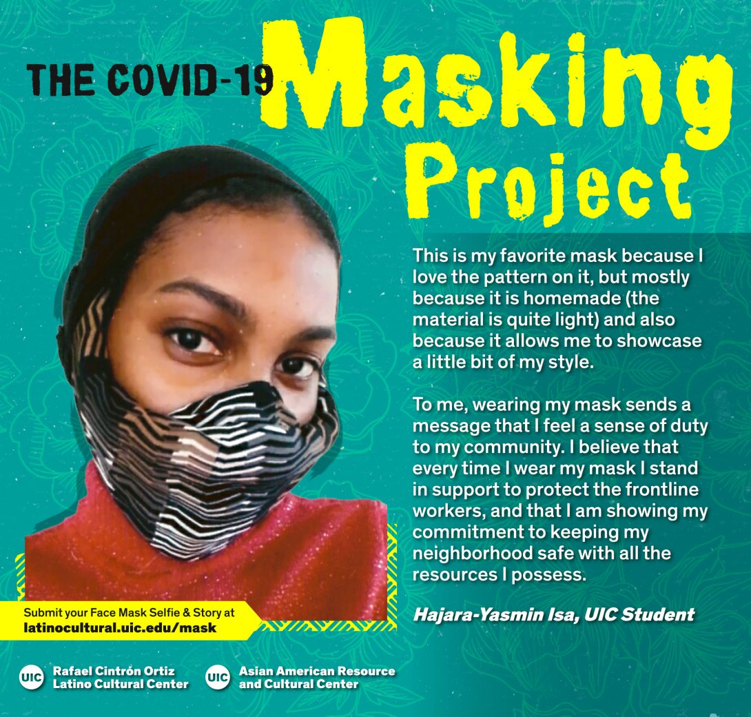 Masked Selfie of Hajara-Yasmin Isa against a blue floral background with the title