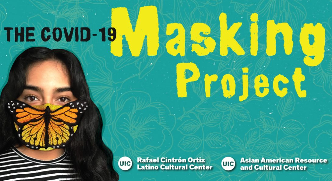 Light blue floral background with featuring a student with a hand woven butterfly mask. Above in black and yellow