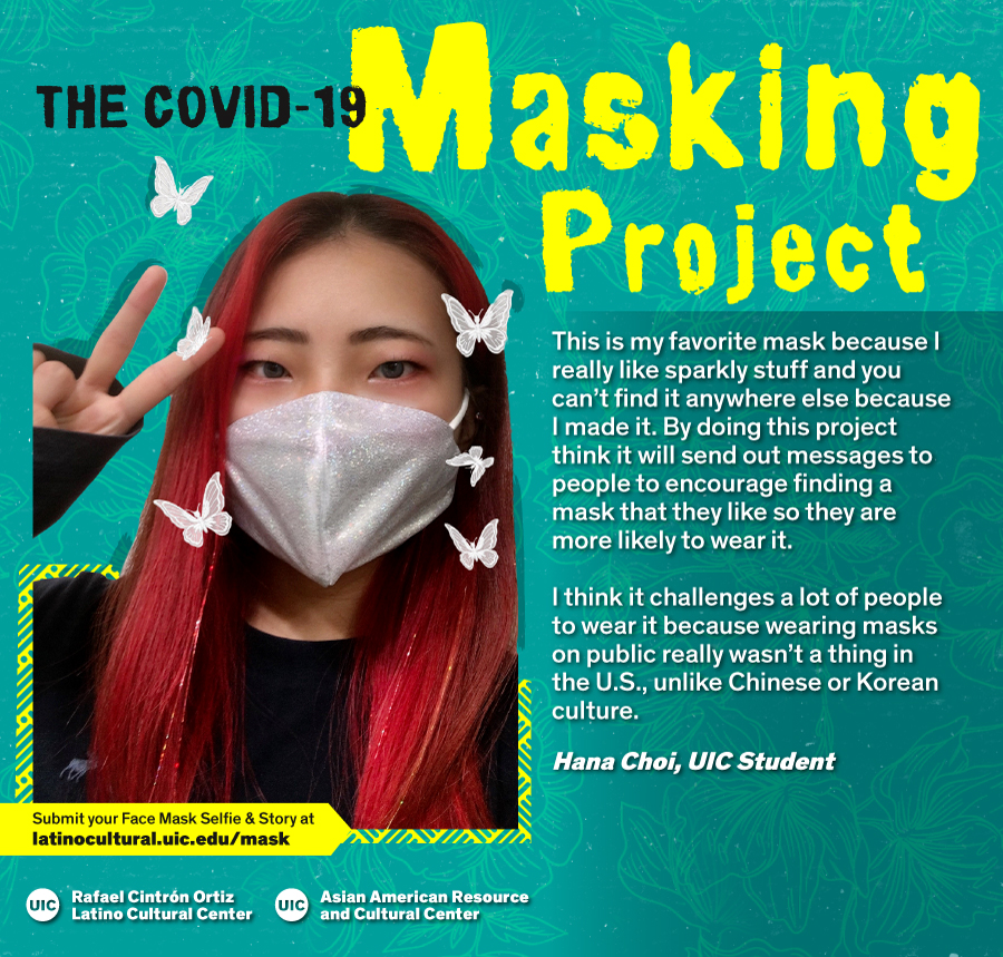 Masked Selfie of Hana Choi against a blue floral background with the title