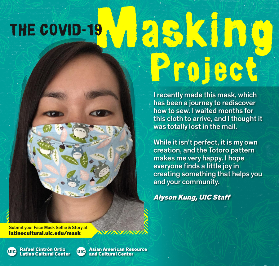 Masked Selfie of Alyson Kung against a blue floral background with the title