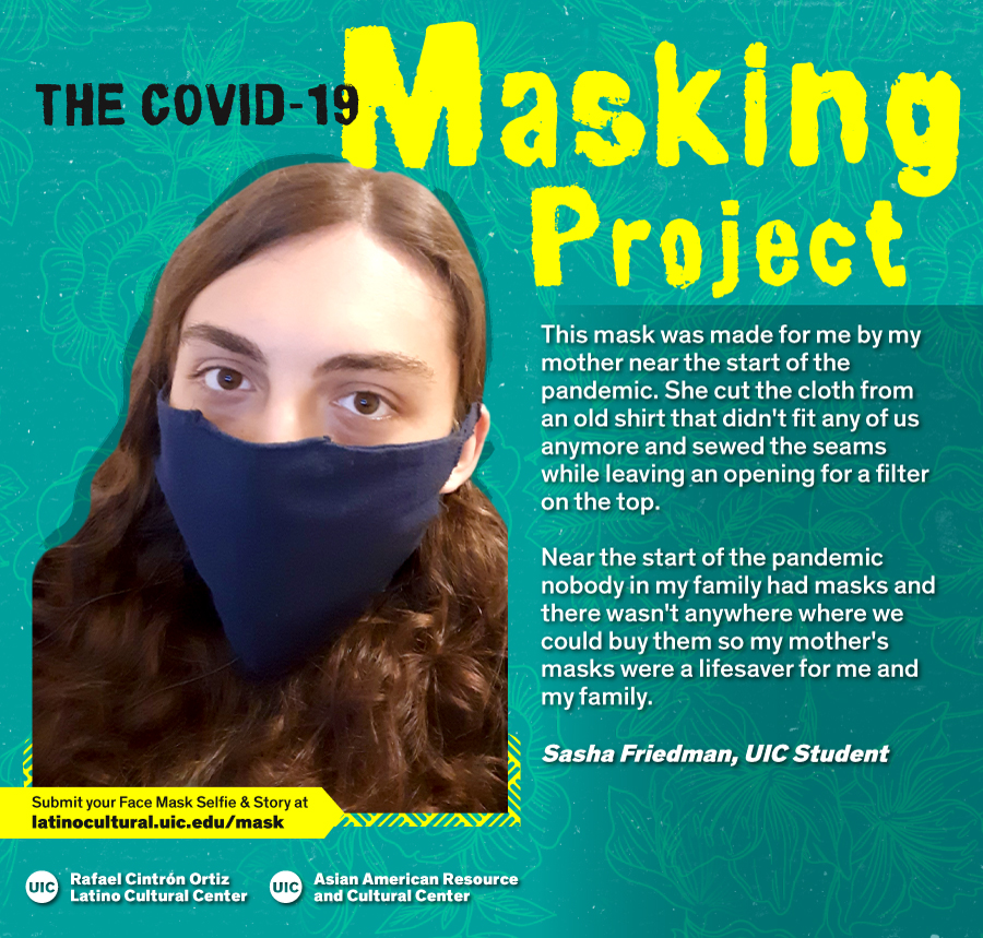 Masked Selfie of Sasha Friedman against a blue floral background with the title