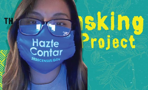 Nancy Morales with a blue mask saying Hazte Contar