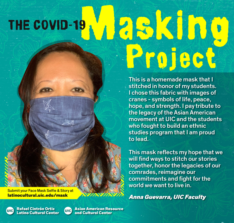 Masked Selfie of Anna Guevarra against a blue floral background with the title