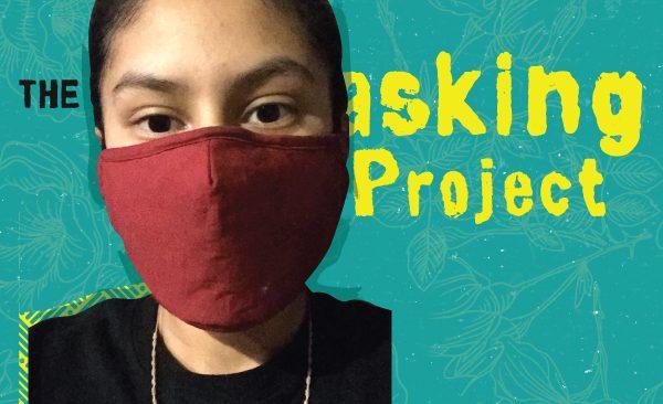 Ashley Cruz with a red mask