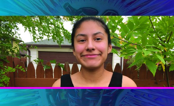 Picture of Ashley Cruz with a dark blue to light blue gradient heart mural. Underneath is the name and major in yellow