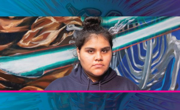 Picture of Yazmin Jimenez with a dark blue to light blue gradient heart mural. Underneath is the name and major in yellow