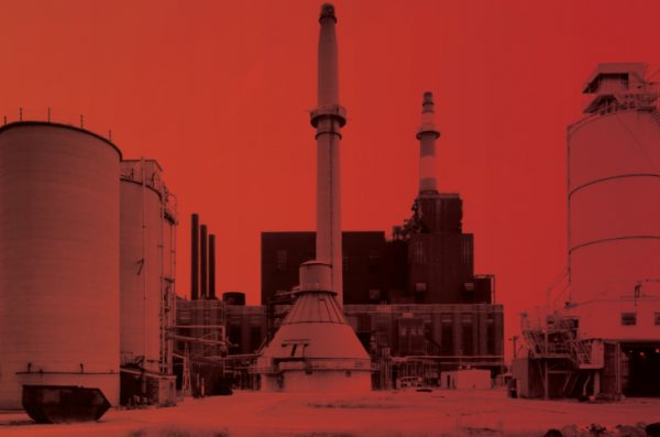 factories from Chicago ina bright red overlay with the words 'Climate do Inequality' in big bold white letters above