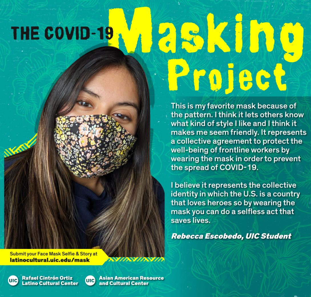 Masked Selfie of Rebecca Escobedo against a blue floral background with the title
